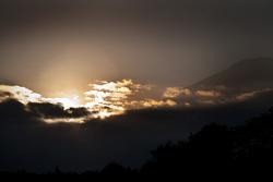 The sun sets over Mt. Fuji