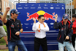 Psy, Rapper performs his dance for his global hit song Gangnam Style with Mark Webber, Red Bull Racing, and Sebastian Vettel, Red Bull Racing