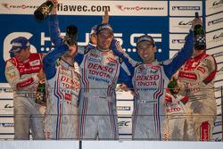 Race winners celebrate: Alexander Wurz, Nicolas Lapierre, Kazuki Nakajima