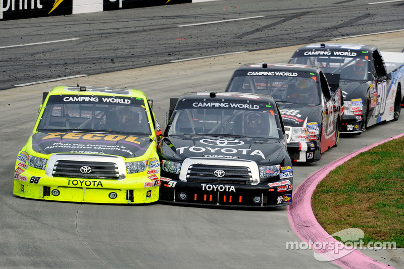 Denny Hamlin passes Matt Crafton for the lead