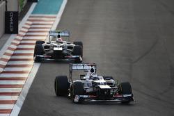 Kamui Kobayashi, Sauber leads team mate Sergio Perez, Sauber