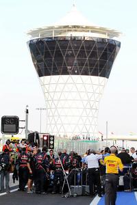 Sebastian Vettel, Red Bull Racing waits to start from the pit lane