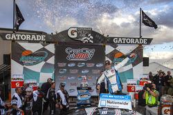Victory lane: race winner Joey Logano