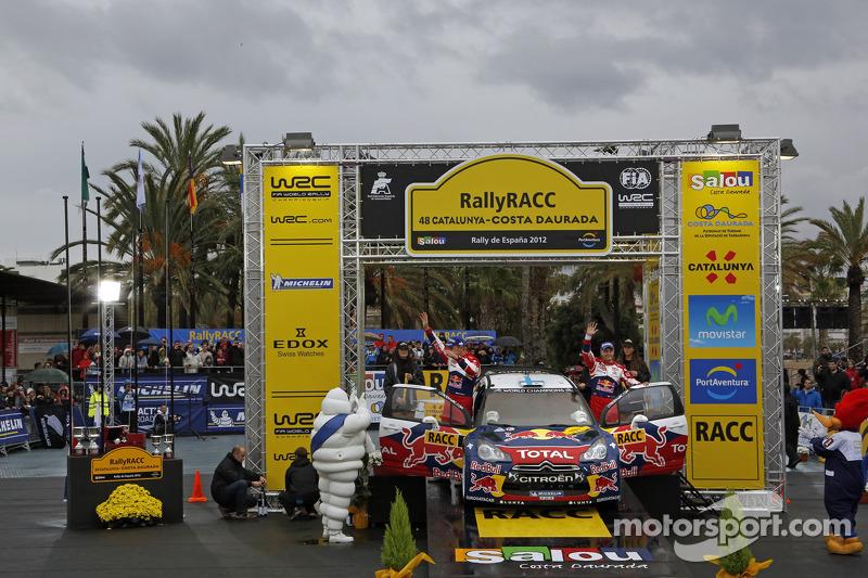 Podium: Mikko Hirvonen and Jarmo Lehtinen, Citroën DS3 WRC, Citroën Total World Rally Team