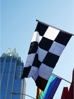 Chequered flag and banners in Austin