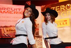 Pirelli girls at the Austin Fan Fest on the Saturday night