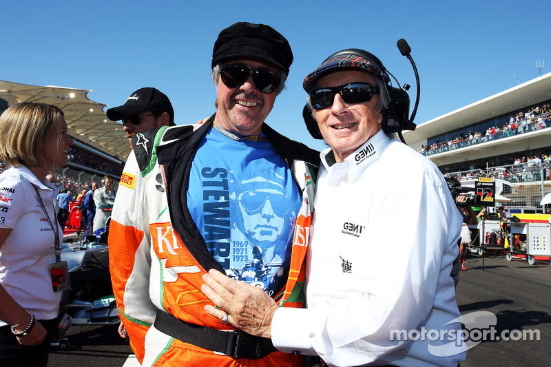 Neil Dickie, Sahara Force India F1 Team with Jackie Stewart, on the grid