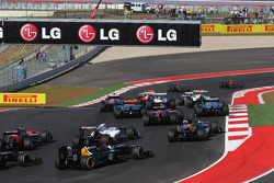Sebastian Vettel, Red Bull Racing RB8 leads into turn 2 at the start of the race