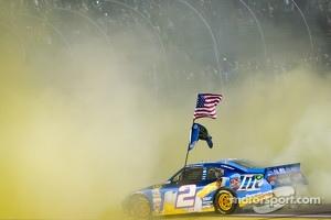 2012 NASCAR Sprint Cup Series champion Brad Keselowski, Penske Racing Dodge celebrates