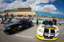 The new 2013 Ford Fusion generation 6 Sprint Cup car with the current generation 5 car