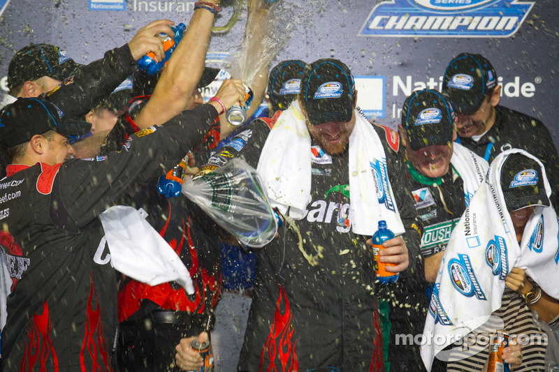 Championship victory lane: 2012 NASCAR Nationwide Series champion Roush Fenway Ford team members celebrate