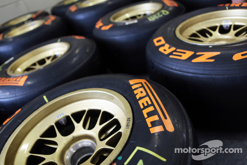 The orange stickered 2013 Pirelli development tyre being tested this weekend