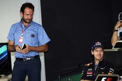 Matteo Bonciani, FIA Media Delegate and Sebastian Vettel, Red Bull Racing in the FIA Press Conference