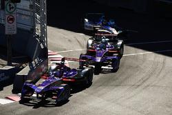 Jose Maria Lopez, DS Virgin Racing, leads Sam Bird, DS Virgin Racing, Robin Frijns, Amlin Andretti Formula E Team