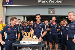 Mark Webber, Red Bull Racing, feiert seinen 200. Grand Prix