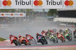 Partenza: Jorge Lorenzo, Ducati Team, Marc Marquez, Repsol Honda Team al comando