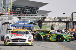 Cars are prepared in the pitlane