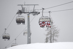 The Ducati team on the ski lift