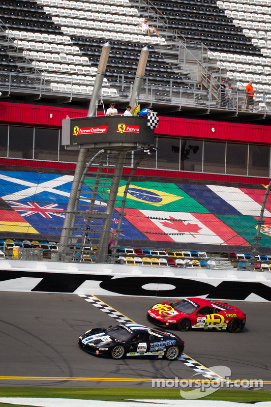 #85 Auto Gallery Ferrari 458: John Farano takes the checkered flag in front of #24 Auto Gallery Ferrari 458: Carlos Kauffmann