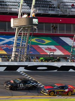 #01 CKS Autosport Camaro GS.R: Lawson Aschenbach, Eric Curran and #9 Stevenson Motorsports Camaro GS.R: Matt Bell, John Edwards take the checkered flag