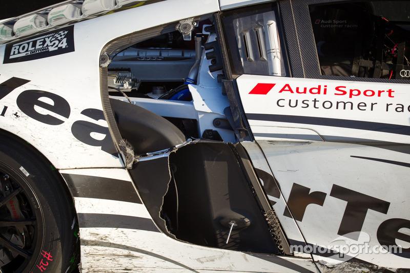 GT podium: damage on the Audi Sport Customer Racing/AJR Audi R8 Grand-Am