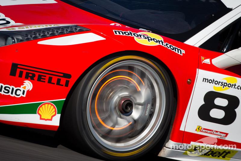Red disk brake on the #8 Ferrari of Fort Lauderdale Ferrari 458