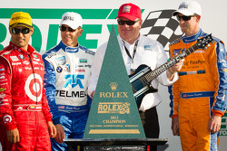 DP podium: Juan Pablo Montoya, Scott Pruett and Charlie Kimball with Chip Ganassi