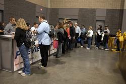 Race fans line up for autographs