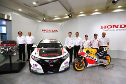 Dani Pedrosa and Marc Marquez with their MotoGP and Tiago Monteiro with his WTCC Honda Civic