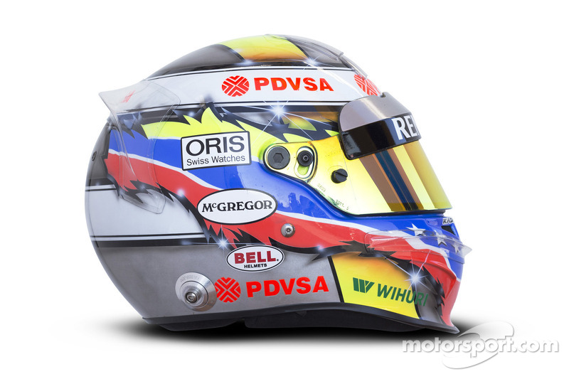 The helmet of Pastor Maldonado, Williams F1