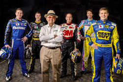 Carl Edwards, Trevor Bayne, Greg Biffle, Travis Pastrana and Ricky Stenhouse Jr. with Jack Roush