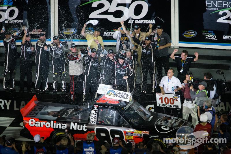 Victory lane: race winner Johnny Sauter celebrates