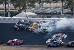 Lap 115 crash: Austin Dillon, Michael Annett, Kasey Kahne, Johanna Long, Hal Martin, Mike Bliss and Jason White crash
