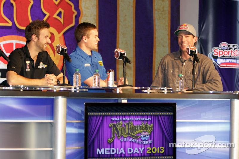 James Hinchcliffe, Ricky Stenhouse Jr. and Travis Pastrana
