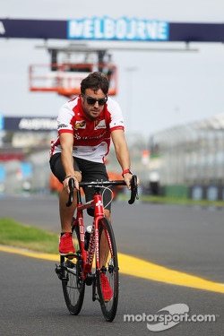 Fernando Alonso, Ferrari rides the circuit on his bicycle