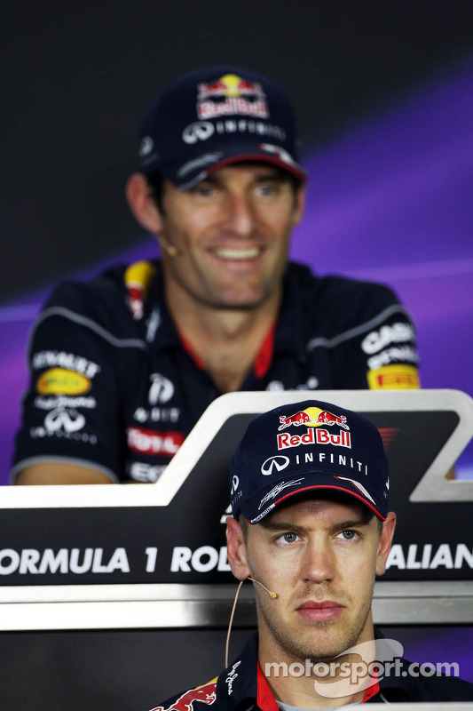 Mark Webber, Red Bull Racing e Sebastian Vettel, Red Bull Racing na coletiva da FIA