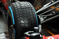 Wet Pirelli tyre on the McLaren MP4-28