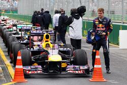 Pole sitter Sebastian Vettel, Red Bull Racing RB9 celebrates in parc ferme
