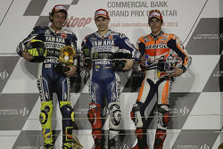 Podium: race winner Jorge Lorenzo, Yamaha Factory Racing, second place Valentino Rossi, Yamaha Factory Racing, third place Marc Marquez, Repsol Honda Team