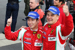Kamui Kobayashi and Toni Vilander celebrate second place in GT