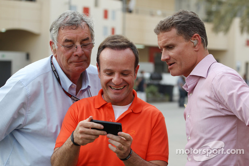 (L to R): Gary Anderson, BBC Sport Expert Analyst with Rubens Barrichello, and David Coulthard, Red Bull Racing and Scuderia Toro Advisor / BBC Television Commentator