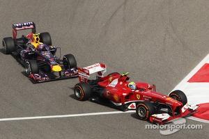 Felipe Massa, Ferrari F138 leads Mark Webber, Red Bull Racing RB9