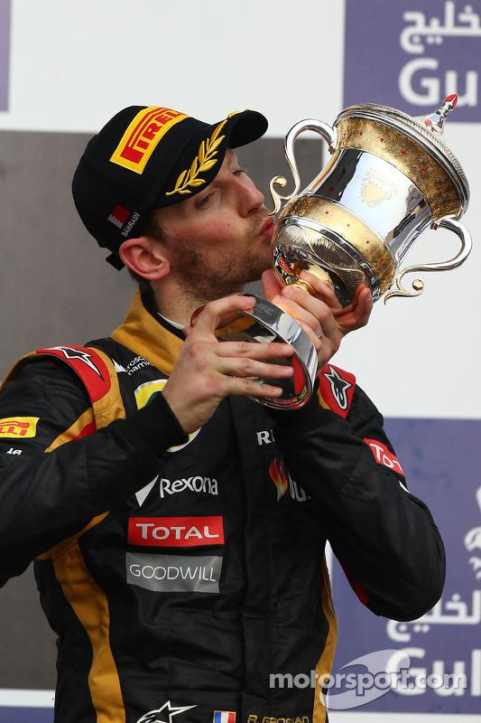 O terceiro colocado Romain Grosjean, Lotus F1 E21