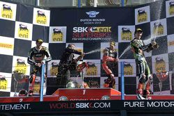 Podium: winner Eugene Laverty, second place Tom Sykes, third place Loris Baz