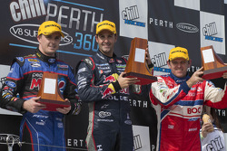 Podium: race winner Jamie Whincup, second place Mark Winterbottom, third place Jason Bright