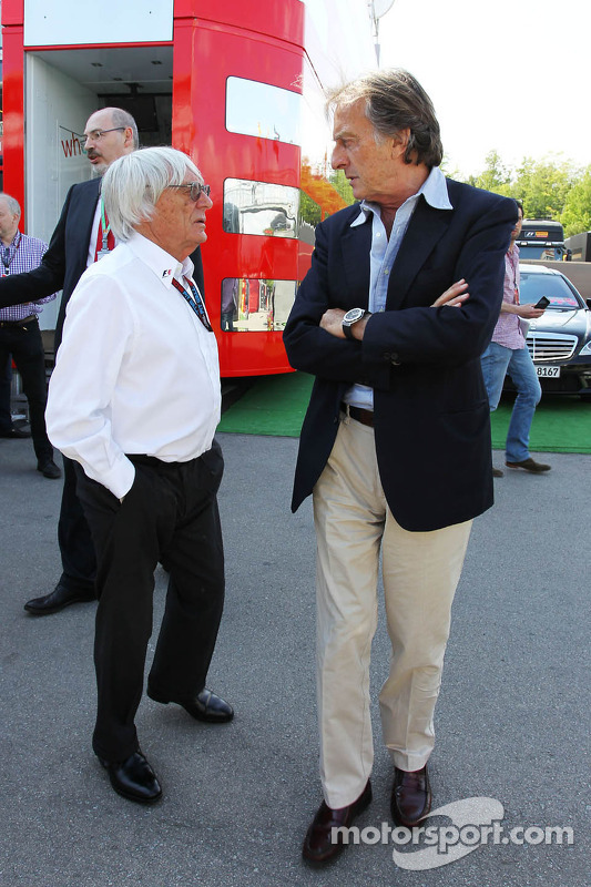 (Da esquerda para direita): Bernie Ecclestone, CEO do Grupo F1, com Luca di Montezemolo, Presidente da Ferrari