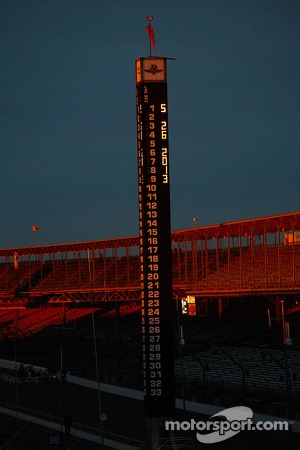 The sun rises over Indianapolis Motor Speedway on race day