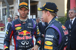 (L to R): Mark Webber, Red Bull Racing with team mate Sebastian Vettel, Red Bull Racing in parc ferme