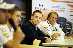 Jordy Cobelens, CEO TW Steel and Robert Fernley, Sahara Force India F1 Team Deputy Team Principal at a TW Steel media call in the Sahara Force India F1 Team motorhome.