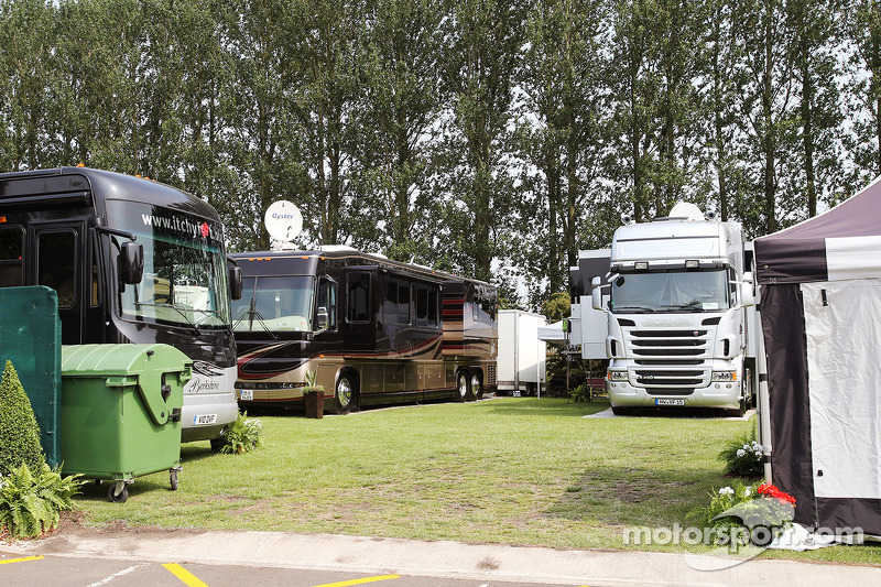 Drivers motorhomes at the BRDC Farm.